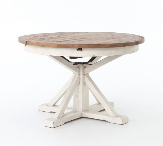Famous Hart Reclaimed Extending Pedestal Dining Table, Driftwood Inside Hart Reclaimed Wood Extending Dining Tables (#3 of 30)