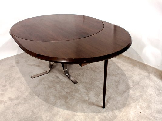 Famous Round Mid Century Walnut Dining Table With Nickel Plated Feetjordi  Vilanova Regarding Chapman Round Marble Dining Tables (#9 of 30)
