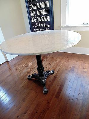 "Famous Vintage Round Marble Dining Table Large Size 38"" Seats 4 Within Christie Round Marble Dining Tables (#12 of 20)"