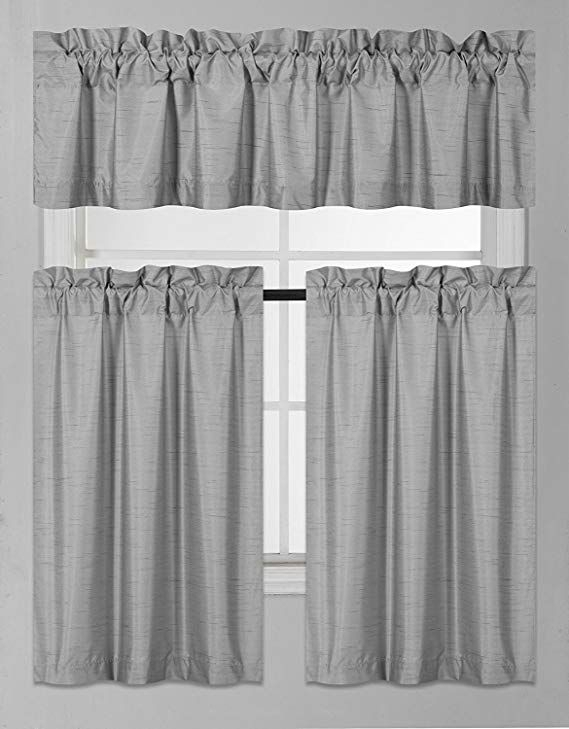 Fancy Collection 3 Pieces Faux Silk Blackout Kitchen Curtain In Grey Window Curtain Tier And Valance Sets (View 26 of 50)