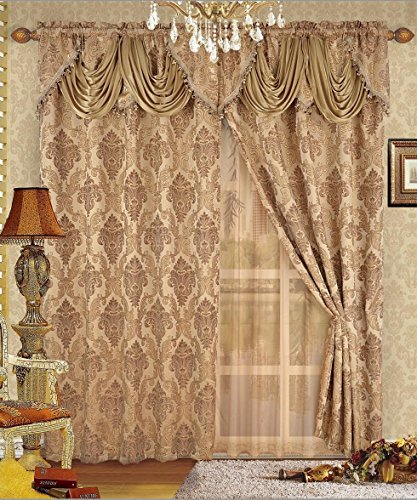 Fancy Collection Luxury Embroidered Curtain Set 4 Piece Gold Throughout Luxury Collection Kitchen Tiers (#13 of 50)