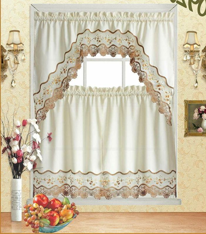 Fancy Linen Kitchen Curtains   Kitchencurtains With Regard To Embroidered Floral 5 Piece Kitchen Curtain Sets (View 14 of 30)
