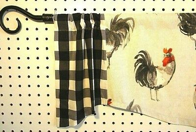 Farm House Roosters~Red~Gray~Black~Buffalo Check~Valance For Barnyard Buffalo Check Rooster Window Valances (View 15 of 30)