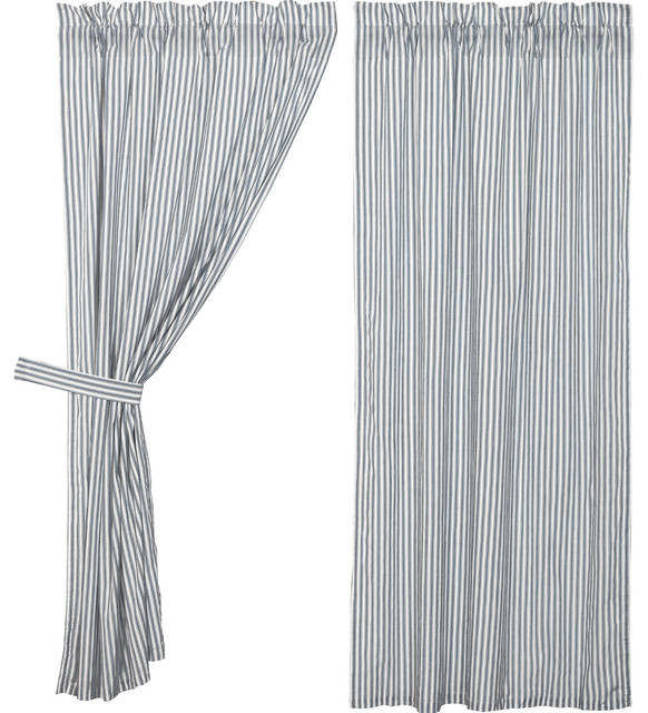 Farmhouse Curtains Miller Farm Ticking Stripe Panel Rod Pocket Cotton, Set Of 2 Inside Rod Pocket Cotton Striped Lace Cotton Burlap Kitchen Curtains (View 22 of 30)