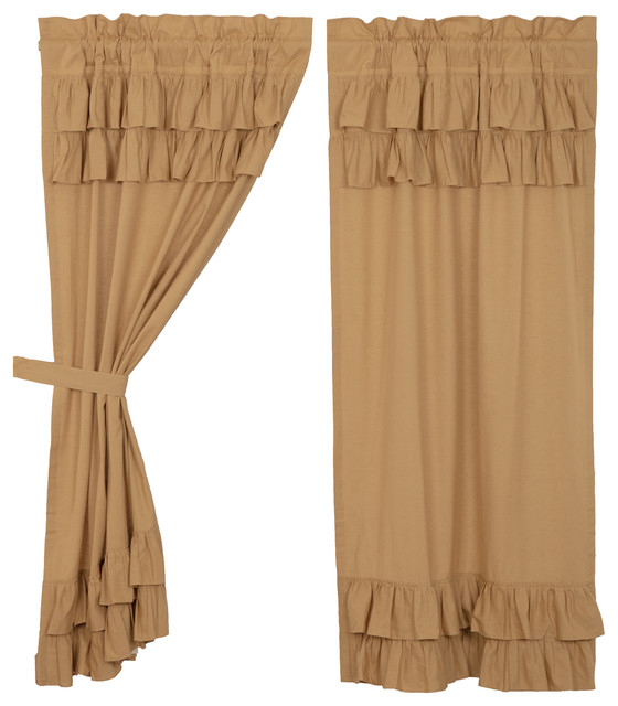 Farmhouse Curtains Simplicity Flax Panel Rod Pocket Cotton Linen Flax, Set  Of 2 Intended For Rod Pocket Cotton Linen Blend Solid Color Flax Kitchen Curtains (View 8 of 30)