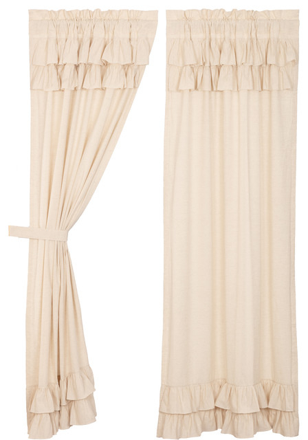 Farmhouse Curtains Simplicity Flax Panel Rod Pocket Cotton Linen Flax, Set  Of 2 Pertaining To Rod Pocket Cotton Linen Blend Solid Color Flax Kitchen Curtains (View 9 of 30)