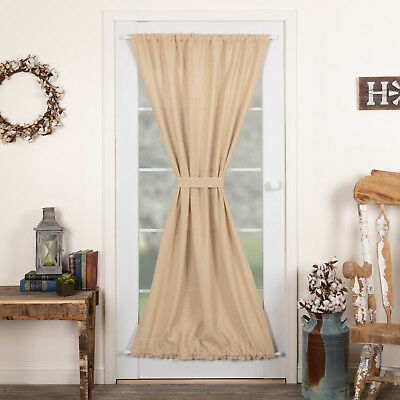 Farmhouse Curtains Veranda Burlap Creme Door Panel Rod Pocket Cotton | Ebay Pertaining To Rod Pocket Cotton Striped Lace Cotton Burlap Kitchen Curtains (View 4 of 30)