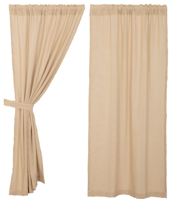 Farmhouse Curtains Veranda Burlap Panel Rod Pocket Cotton Solid Color, Set  Of 2 Pertaining To Rod Pocket Cotton Linen Blend Solid Color Flax Kitchen Curtains (View 10 of 30)