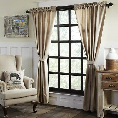 Farmhouse Curtains Vhc Charlotte Panel Pair Rod Pocket Cotton Linen Blend |  Ebay Pertaining To Rod Pocket Cotton Linen Blend Solid Color Flax Kitchen Curtains (View 11 of 30)