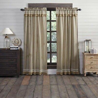Farmhouse Curtains Vhc Kendra Stripe Panel Pair Rod Pocket Cotton Striped | Ebay Inside Farmhouse Stripe Kitchen Tier Pairs (View 20 of 30)