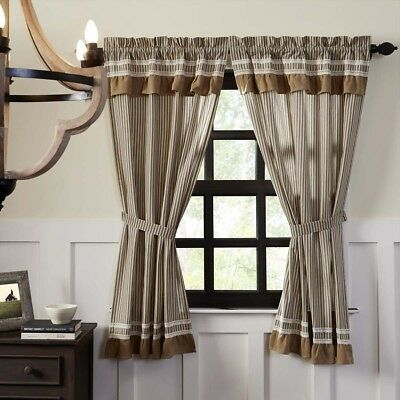 Farmhouse Curtains Vhc Kendra Stripe Panel Pair Rod Pocket Cotton Striped | Ebay Pertaining To Rod Pocket Cotton Striped Lace Cotton Burlap Kitchen Curtains (View 12 of 30)