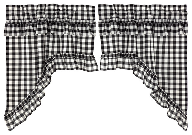 Farmhouse Kitchen Curtains Jenna Buffalo Check Swag Rod Pocket Cotton, Set  Of 2 In Check Scalloped Swag Sets (View 19 of 30)