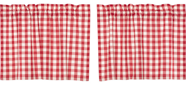 Farmhouse Kitchen Curtains Jenna Buffalo Check Tier Pair Rod Pocket Cotton With Bermuda Ruffle Kitchen Curtain Tier Sets (View 16 of 50)
