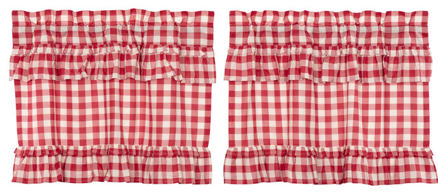 Farmhouse Kitchen Curtains Jenna Buffalo Check Tier Rod Pocket Cotton, Set  Of 2 Inside Bermuda Ruffle Kitchen Curtain Tier Sets (View 17 of 50)