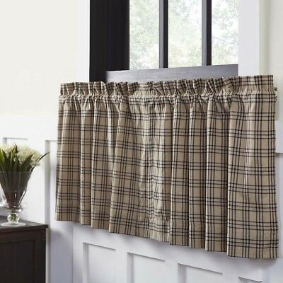 Popular Photo of Cumberland Tier Pair Rod Pocket Cotton Buffalo Check Kitchen Curtains