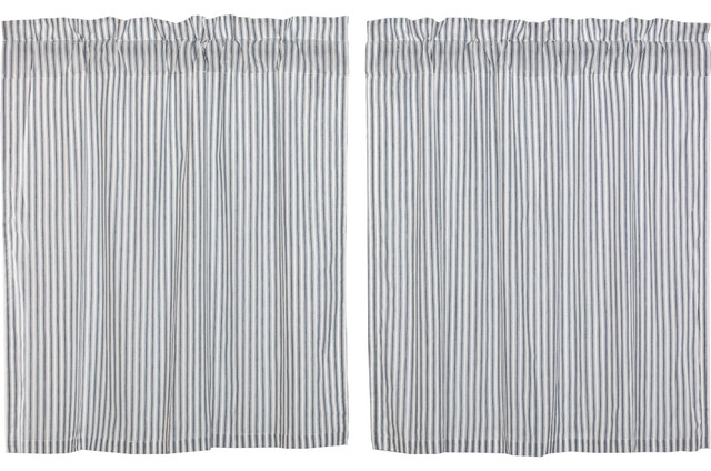 Farmhouse Kitchen Curtains Miller Farm Ticking Stripe Tier Rod Pocket, Set Of 2 Inside Rod Pocket Cotton Striped Lace Cotton Burlap Kitchen Curtains (View 13 of 30)