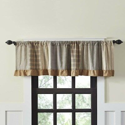 Farmhouse Kitchen Curtains Miller Farm Valance Rod Pocket Cotton Patchwork  | Ebay With Regard To Barnyard Window Curtain Tier Pair And Valance Sets (View 32 of 50)