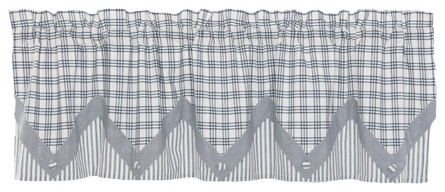 Farmhouse Kitchen Curtains Miller Farm Valance Rod Pocket Cotton Pointed  Buttons In Farmhouse Kitchen Curtains (View 18 of 50)