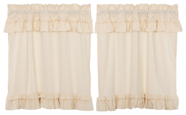 Farmhouse Kitchen Curtains Portico Muslin Ruffled Tier Pair Rod Pocket Cotton Pertaining To Farmhouse Stripe Kitchen Tier Pairs (View 13 of 30)