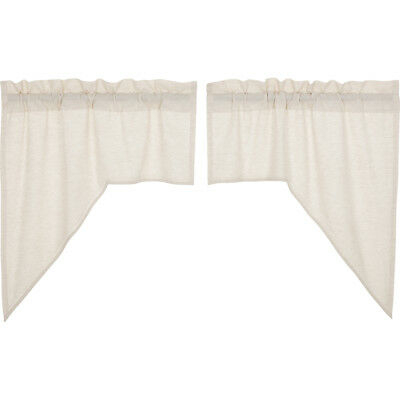 Farmhouse Kitchen Curtains Simplicity Flax Swag Pair Rod For Rod Pocket Cotton Striped Lace Cotton Burlap Kitchen Curtains (View 27 of 30)