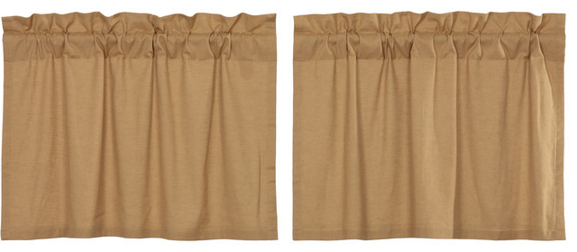 Farmhouse Kitchen Curtains Simplicity Flax Tier Pair Rod Pocket Solid Color Flax Pertaining To Simple Life Flax Tier Pairs (View 2 of 30)