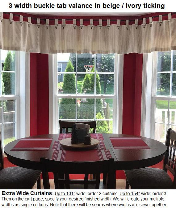 Farmhouse Ticking Stripe Cafe Curtains/drapes/valance/pillow  Overall  Buckle Tab Top  18 Colors Custom Curtains  Ships In 5 10 Biz Days Within Coffee Drinks Embroidered Window Valances And Tiers (View 15 of 45)