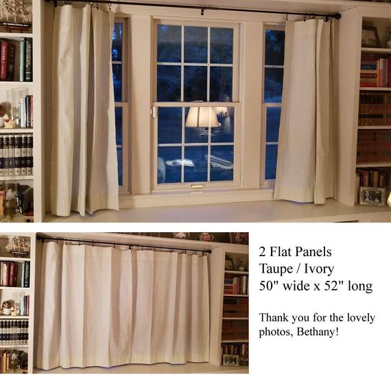 Farmhouse Ticking Stripe Kitchen Cafe Curtains/window Valance 19 Colors Flat Panel Or Rod Pocket – Custom Curtains Ships In 5 10 Biz Days For Farmhouse Stripe Kitchen Tier Pairs (View 18 of 30)