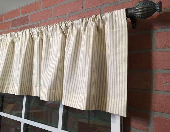 Farmhouse Ticking Stripe Kitchen Cafe Curtains/window Valance 19 Colors Flat Panel Or Rod Pocket – Custom Curtains Ships In 5 10 Biz Days In Farmhouse Stripe Kitchen Tier Pairs (View 11 of 30)