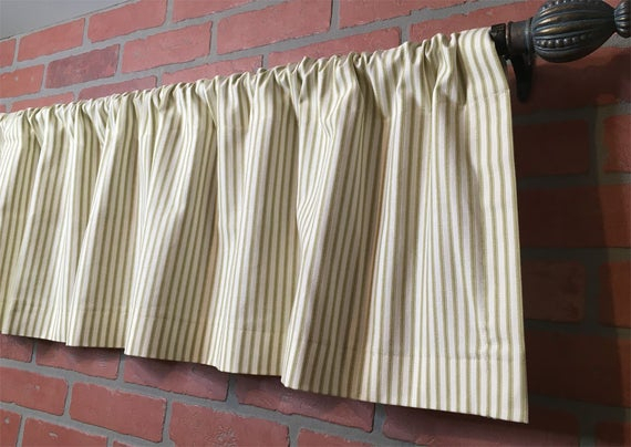 Farmhouse Ticking Stripe Kitchen Cafe Curtains/window Valance 19 Colors Flat Panel Or Rod Pocket – Custom Curtains Ships In 5 10 Biz Days Intended For Farmhouse Stripe Kitchen Tier Pairs (View 24 of 30)