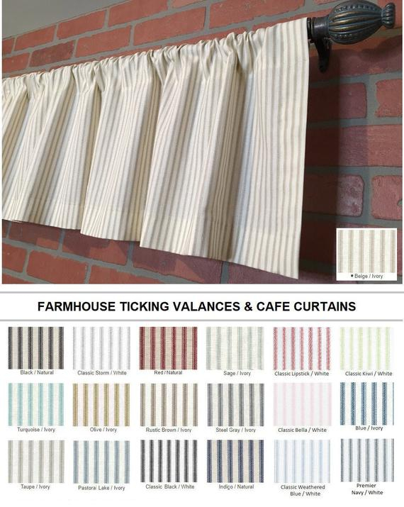 Farmhouse Ticking Stripe Kitchen Cafe Curtains/window Valance 19 Colors Flat Panel Or Rod Pocket – Custom Curtains Ships In 5 10 Biz Days Pertaining To Farmhouse Stripe Kitchen Tier Pairs (View 4 of 30)