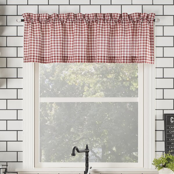 Farmhouse Valance Curtains | Wayfair With Regard To Semi Sheer Rod Pocket Kitchen Curtain Valance And Tiers Sets (View 5 of 50)