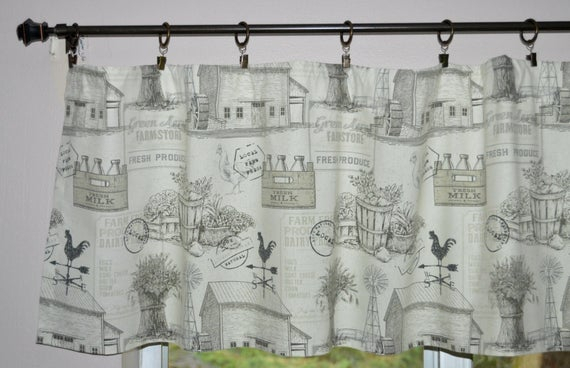Farmhouse Valance . Farm Toile Rooster Valance . Charcoal Gray And White  Valance . Country Valance . Cottage Curtains  (View 19 of 30)