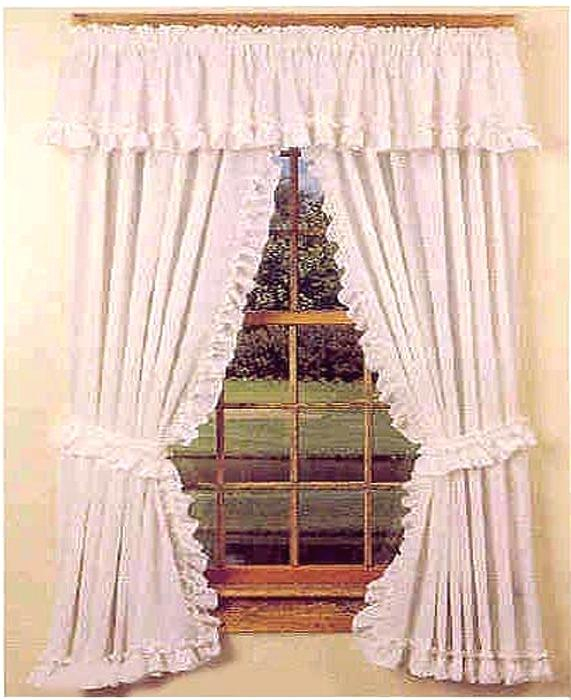 Farmhouse Window Simple Life Flax Antique White Valance In Simple Life Flax Tier Pairs (View 27 of 30)