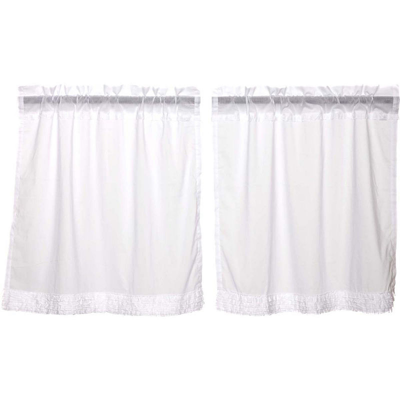 Farmhouse Window White Ruffled Sheer Tier Pair | Products In Simple Life Flax Tier Pairs (View 22 of 30)
