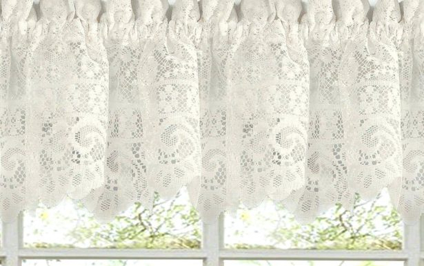 Fascinating Window Valance White Knit Lace Bird Motif In White Knit Lace Bird Motif Window Curtain Tiers (View 14 of 50)