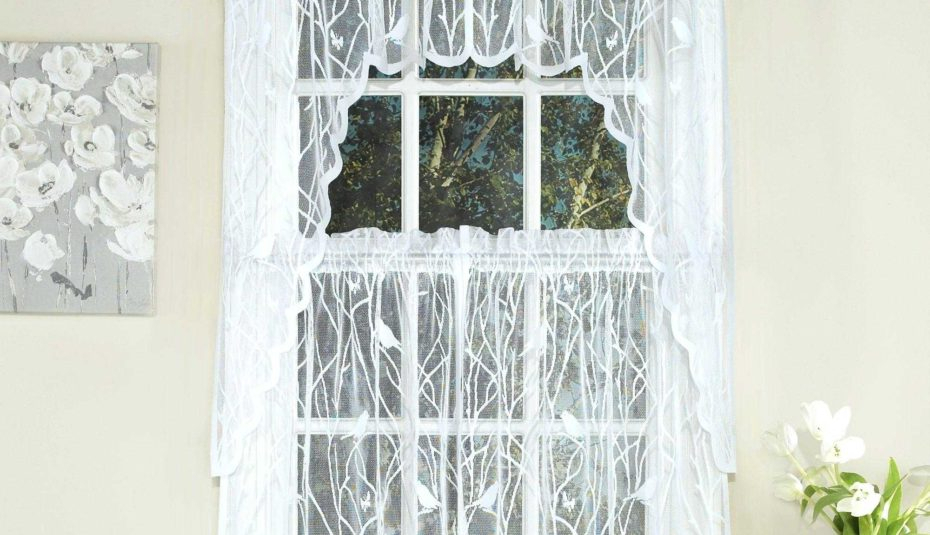 Fascinating Window Valance White Knit Lace Bird Motif Throughout Pleated Curtain Tiers (View 35 of 50)