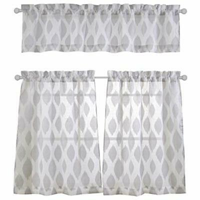 Fashion 3 Pieces Jacquard Kitchen Sheer Tier Curtains And Throughout Grey Window Curtain Tier And Valance Sets (View 27 of 50)