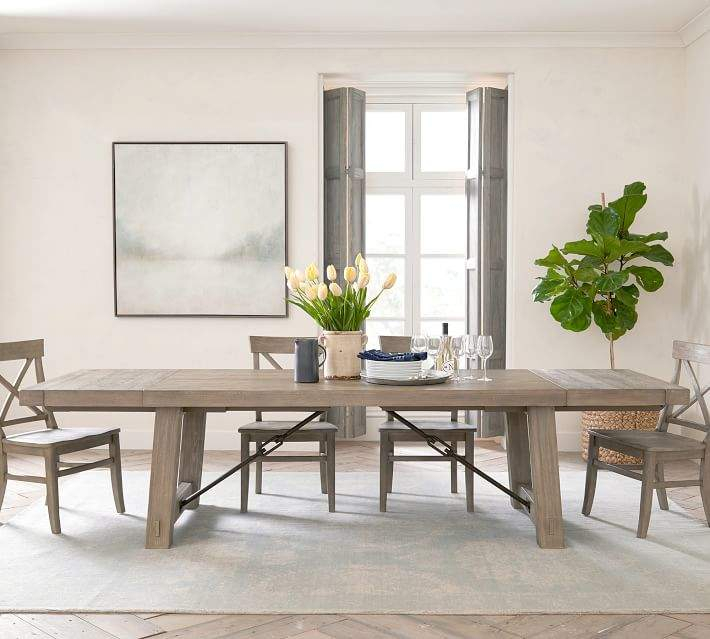 Popular Photo of Gray Wash Benchwright Extending Dining Tables