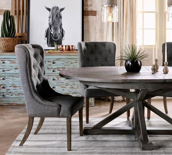 Fashionable Hart Reclaimed Pedestal Extending Dining Table, Driftwood Within Driftwood White Hart Reclaimed Pedestal Extending Dining Tables (View 4 of 30)
