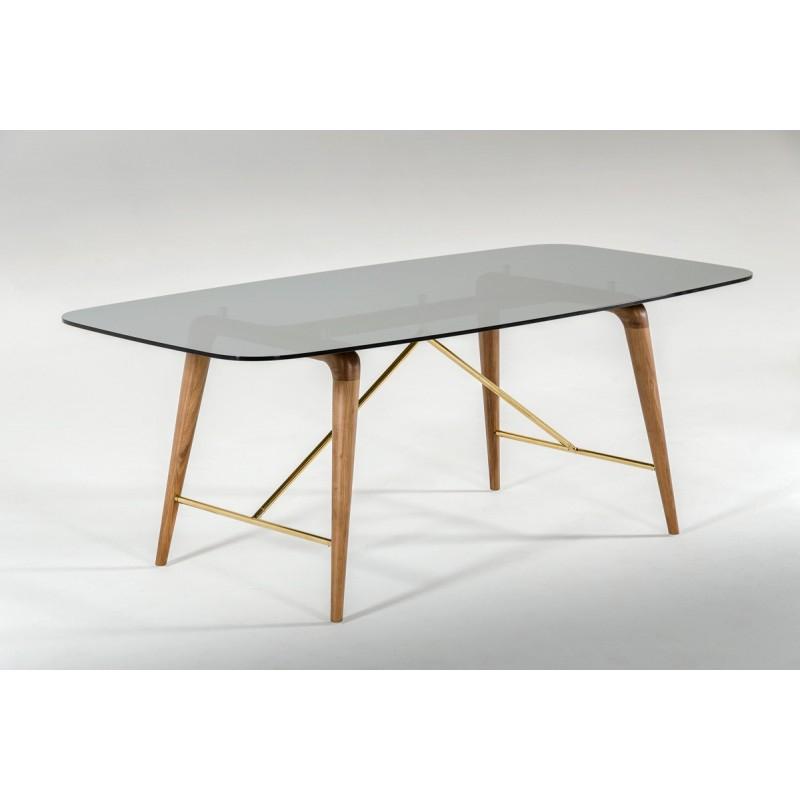 Fashionable Kipling Rectangular Dining Tables In Modrest Kipling Modern Smoked Glass & Walnut Dining Table (#2 of 20)