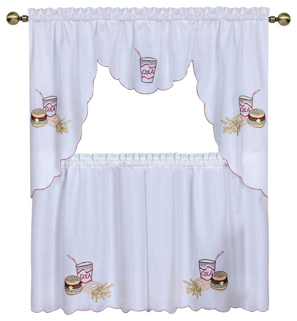 """Fast Food Embellished Tier And Swag Window Curtain Set, 58""""x36"""" Pertaining To Multicolored Printed Curtain Tier And Swag Sets (View 11 of 30)"""