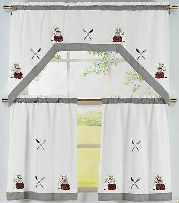 Fat Chef Cook Cafe Seafood Coffee Cup Kitchen Fabric Curtain For Coffee Drinks Embroidered Window Valances And Tiers (View 16 of 45)