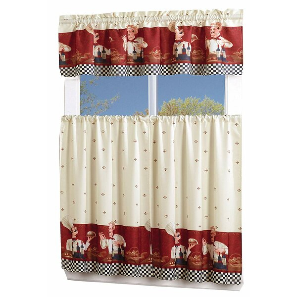Fat Chef Curtains | Wayfair Intended For Embroidered Chef Black 5 Piece Kitchen Curtain Sets (View 14 of 42)