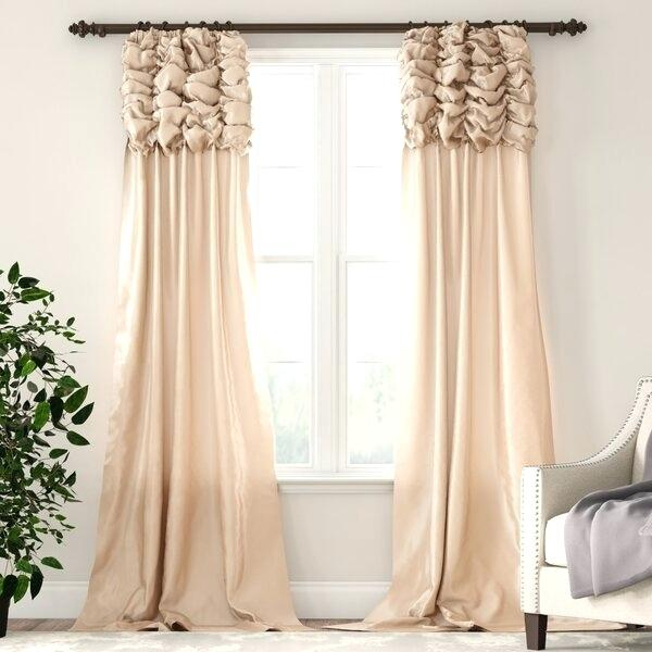 Faux Silk Curtains – Wayo Regarding Rod Pocket Cotton Solid Color Ruched Ruffle Kitchen Curtains (#9 of 30)