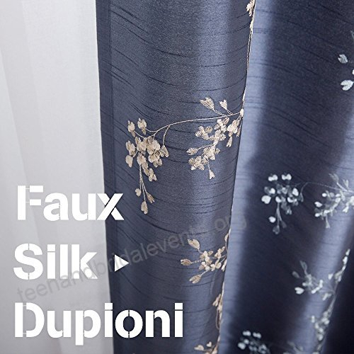 Faux Silk Floral Embroidered Grommet Top Curtains For Living Intended For Floral Embroidered Faux Silk Kitchen Tiers (View 23 of 50)