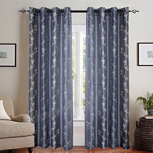Faux Silk Floral Embroidered Grommet Top Curtains For Living Throughout Floral Embroidered Faux Silk Kitchen Tiers (View 25 of 50)