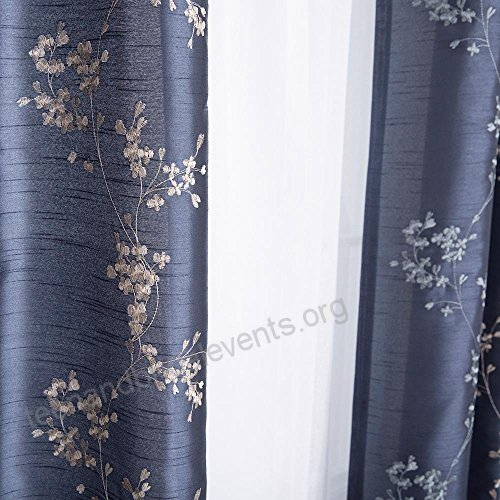 Faux Silk Floral Embroidered Grommet Top Curtains For Living Within Floral Embroidered Faux Silk Kitchen Tiers (View 26 of 50)