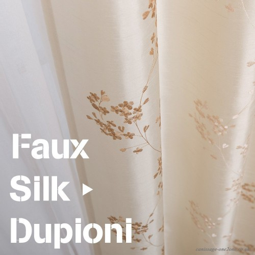 """Faux Silk Floral Embroidered Sheer Curtains For Bedroom Embroidery Curtain  For Living Room 84 Inch Length 2 Panels Ivory 84""""l 