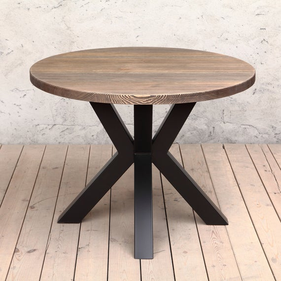Favorite Clyde Round Solid Wood Industrial Dining Table Regarding Clyde Round Bar Tables (#13 of 20)