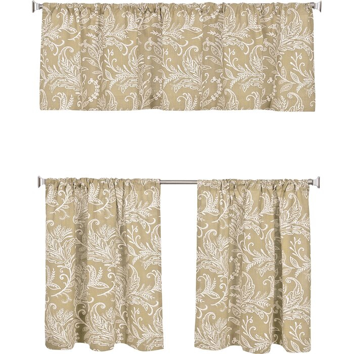 Flora Kitchen Tier Set With Imperial Flower Jacquard Tier And Valance Kitchen Curtain Sets (View 35 of 46)